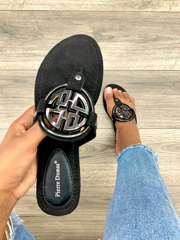 Take Over Designer Inspired Sandals | Black