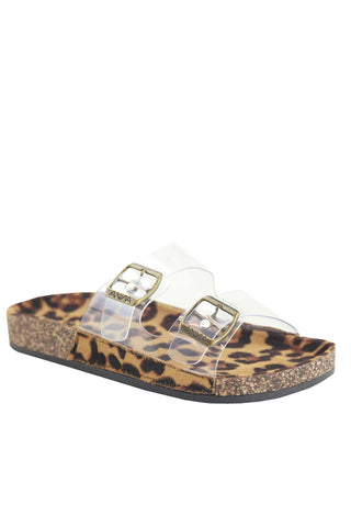 No Regrets Clear Cork Bottom Sandals | Leopard