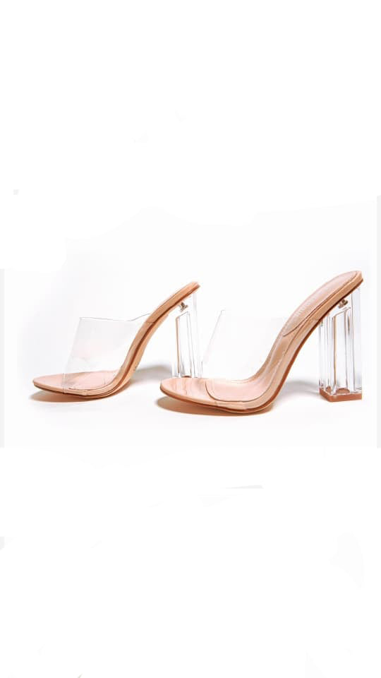 Uncensored Clear Mule Block Heels | Nude