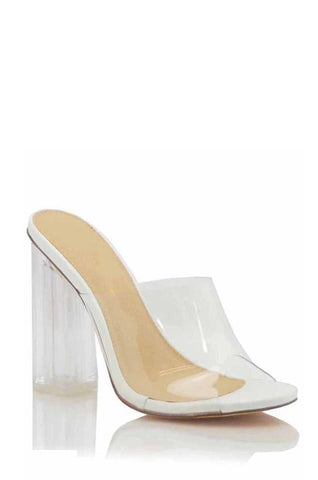 Keep Clear Mule Block Heels | White