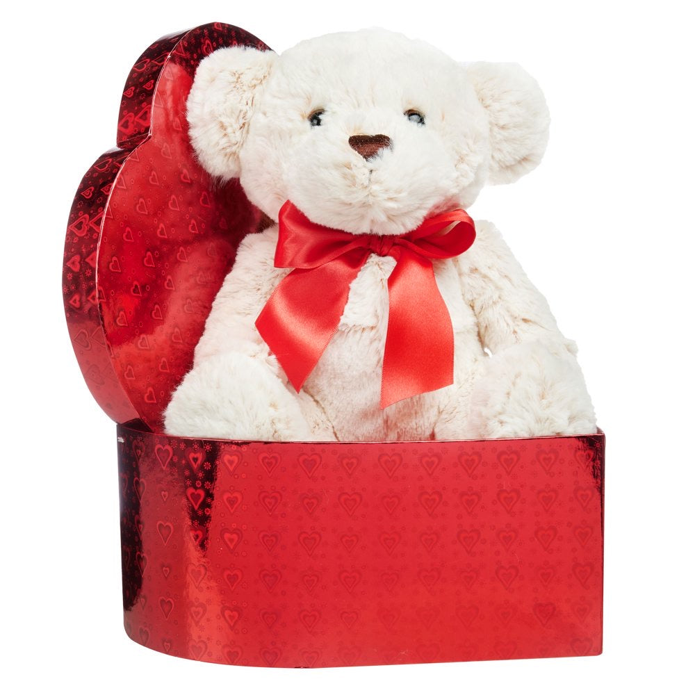 White Plush Teddy in Red Heart Box