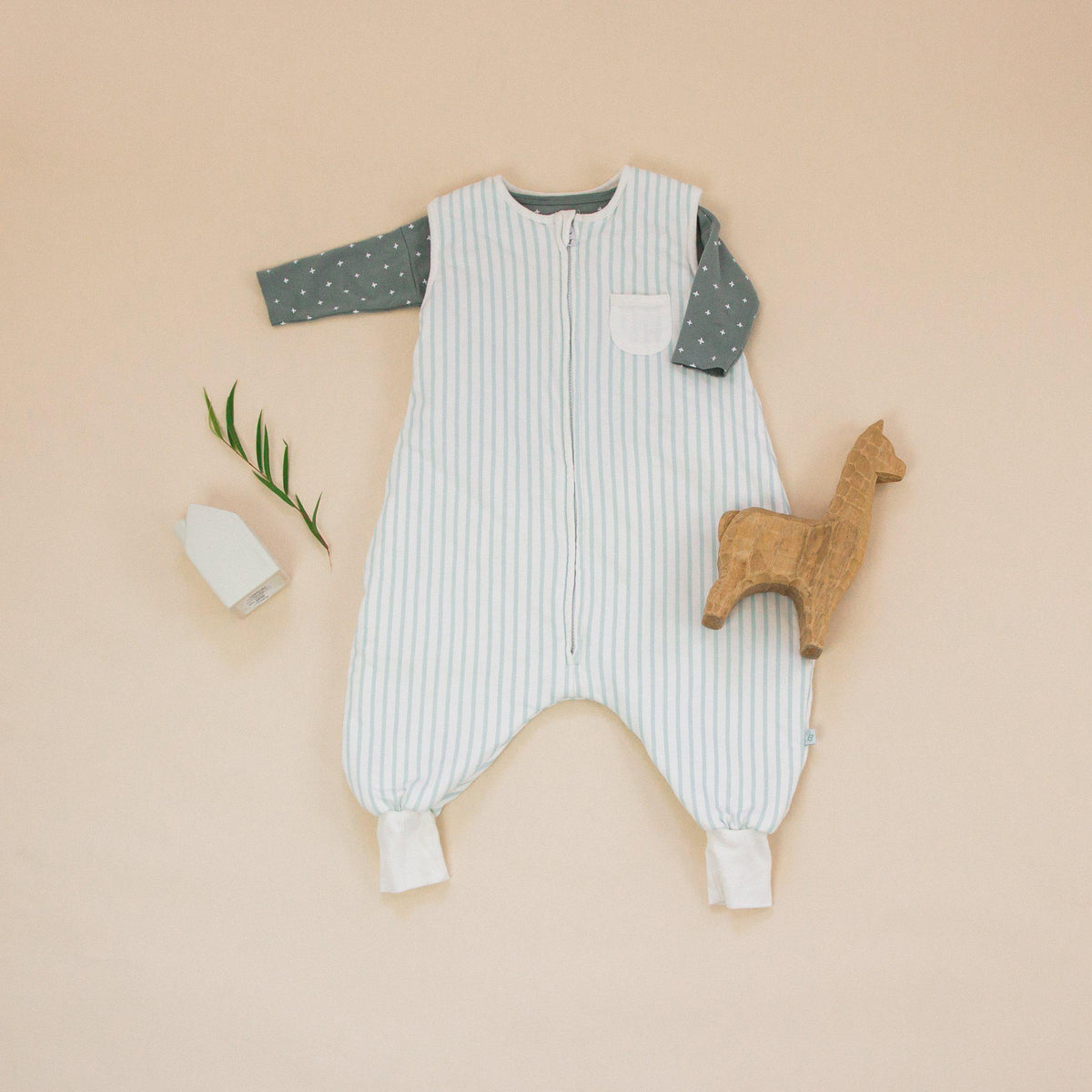 Striped Minty Green Dreamsuit - 1.5 TOG Toddler Sleep Sack With Legs - Tealbee