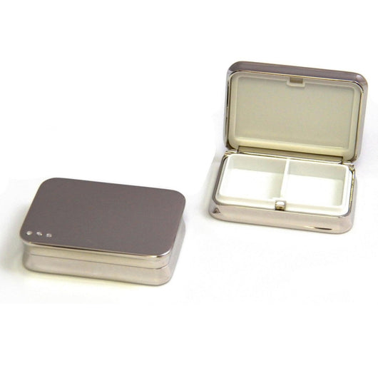 Nickel Plated Rectangular Pill Box with Divider.