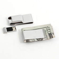 Nickel Plated Money Clip with 2 GB Flash Drive.
