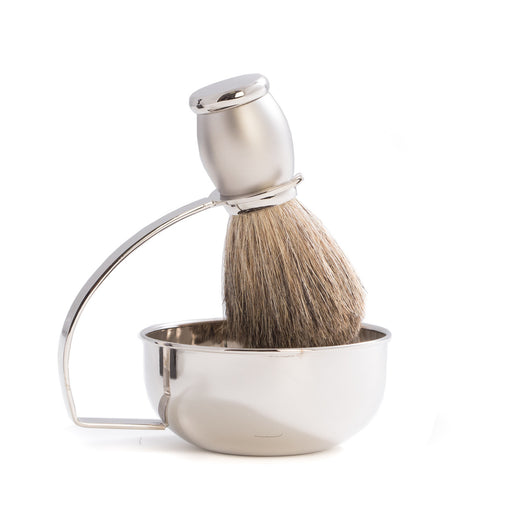 Chrome Plated & Satin Finished Soap Dish with Pure Badger Brush.