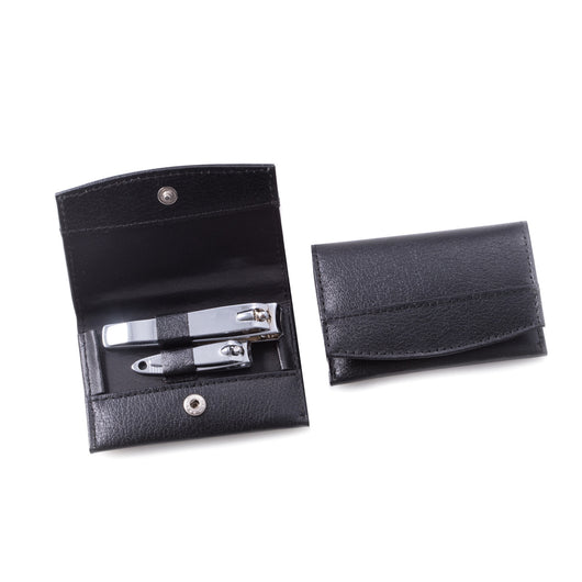 2 Piece Nail Clipper Set in Black Leather Case.