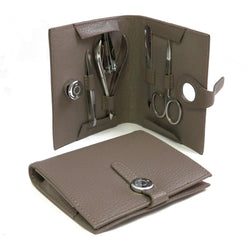5 Piece Manicure Set with Scissors, File, Nipper, Small Clipper and Tweezers in Stone Leather Case.