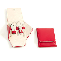 5 Piece Manicure Set with Cuticle Cleaner, Small Nail Clipper, Scissors, File & Knife Tool and Tweezers in Red Leather Case.
