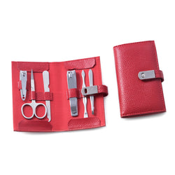 6 Piece Manicure Set with Cuticle Cleaner, Small and Large Nail Clippers, Scissors, File and Tweezers in Red Leather Case.