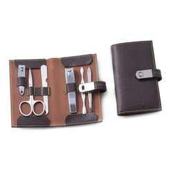 6 Piece Manicure Set with Cuticle Cleaner, Small and Large Nail Clippers, Scissors, File and Tweezers in Brown Leather Case.
