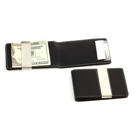 Black Leather Wallet with Credit Card / ID Slots and Stainless Steel Money Clip.