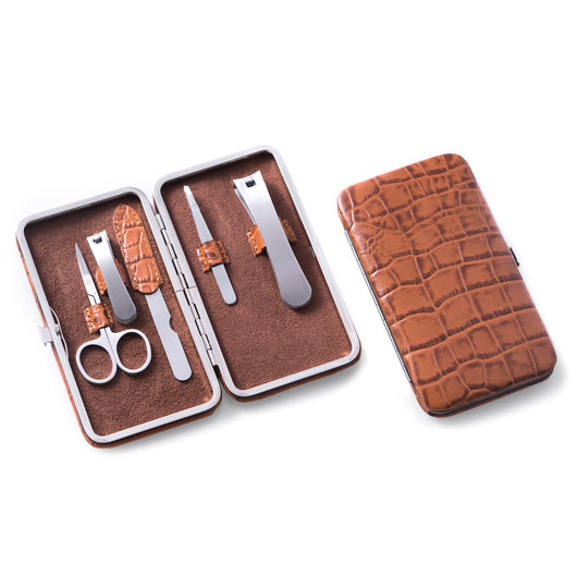 5 Piece Manicure Set with Small and Large Clippers, File, Tweezers and Scissors in Brown Leather with Croco Pattern Case.