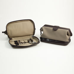 Ultra Suede & Brown Leather Toiletry Bag with 6 Piece Manicure & Grooming Set. Includes