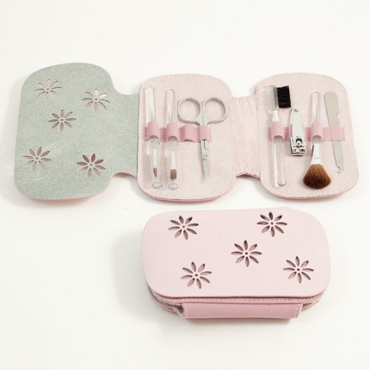 7 Pieces Manicure Set with Small Clipper, File, Scissor and 4 Makeup Brushes in Pink Leather & Ultra Sued Case.