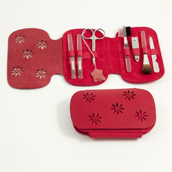 7 Pieces Manicure Set with Small Clipper, File, Scissor and 4 Makeup Brushes in Red Leather & Ultra Sued Case.