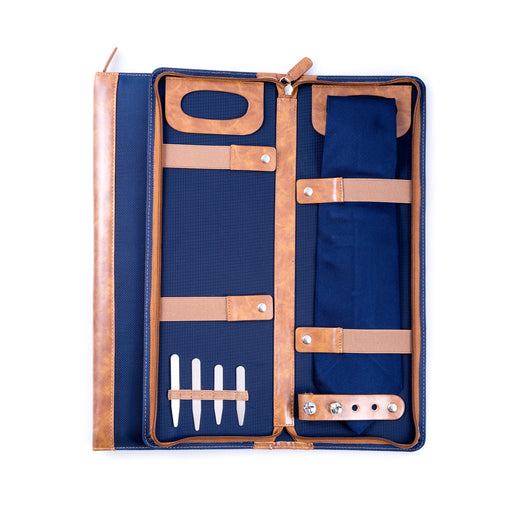 Ballistic Blue Nylon Travel Tie Case with Brown Accents Includes: 4 Collar Stays Slots for 4 Cufflinks Zipper Closure