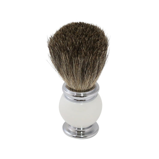 Pure Badger Shaving Brush with White Enamel Handle and Chrome Accents.