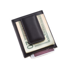 Black Leather Magnetic Money Clip & Wallet.