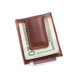 Brown Leather Magnetic Money Clip & Wallet.