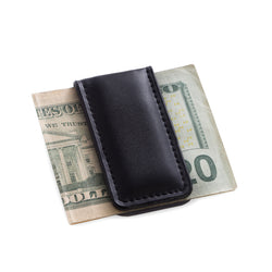 Black Leather Magnetic Money Clip.
