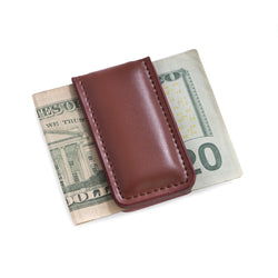 Brown Leather Magnetic Money Clip.