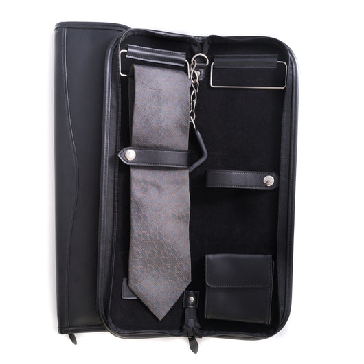 Travel Tie Case with Accessory Pocket and Hanging Hook in Zippered Black Leather.