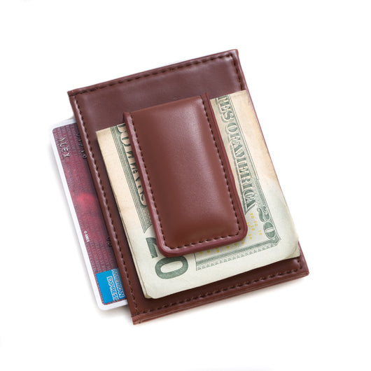 Brown Leather Magnetic Money Clip & Wallet with ID Window.