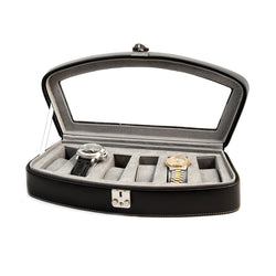 Black Leather 6 Watch Case with Glass Top and Locking Clasp. Pigskin Leather Lined.