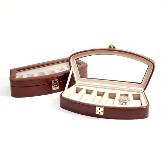 Brown Leather 6 Watch Case with Glass Top and Locking Clasp. Pigskin Leather Lined.