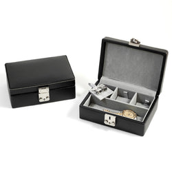 Black Leather Jewelry Case with Dividers, Slots for Cufflinks and Locking Clasp. Pigskin Lined.