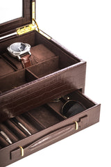 "Brown ""Croco"" Leather 5-Watch Box with Drawer"