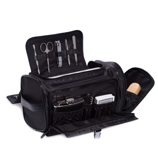 Black Leather & Nylon Tote Bag with 6 oz. Flask, Bar tool, Deck of Playing Cards, 5 Piece Shoe Shine Set and 5 Piece Manicure Set which Includes a Cuticle Cleaner, Scissors, Large Clippers, Tweezers and File.