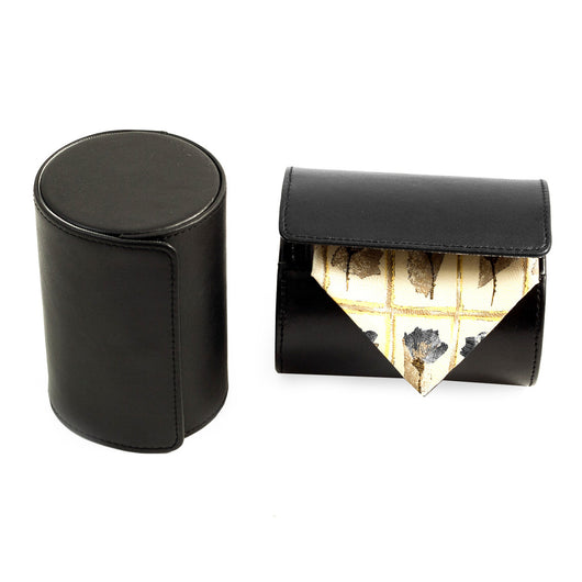 Black Leather Single Travel Tie Case with Snap Closure.
