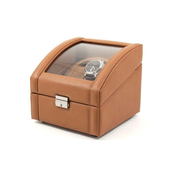 Tan Leather 2 Watch Winder With Glass Top. Includes 2 Sizes of Watch Pillows for Large and Small Wrist Sizes. Selectable Single or Dual Direction Rotation. Rotates over 4300 Times a Day. Works on Both AC or DC Power.