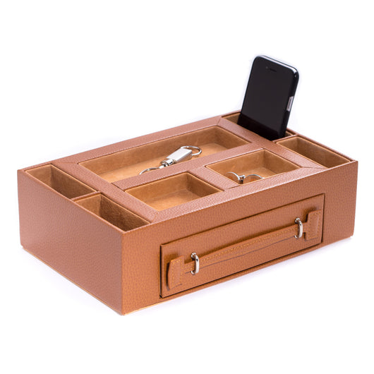 Tan Leather Open Face Valet Box with Drawer for 2 Pens & 2 Watches. Pigskin Leather Lined.