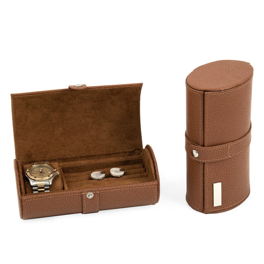 Tan Leather Watch & Cufflink Travel Case with Snap Closure.