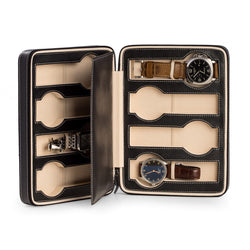 Black Leather 8 Watch Travel Case with Form Fit Compartments