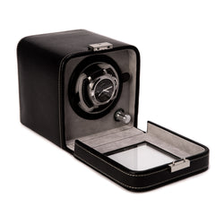 Black Leather Single Watch Winder With See-thru Glass Door and Locking Clasp.