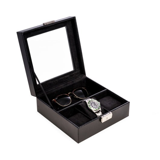 Black Leather Watch and Accessory Case with Glass Top and Locking Clasp.