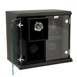 Black Leather Quadruple Watch Winder with Removable Individual Winders.