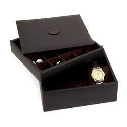 Brown Leather Stacked Valet for 6 Watches and 20 Cufflinks with Lid.