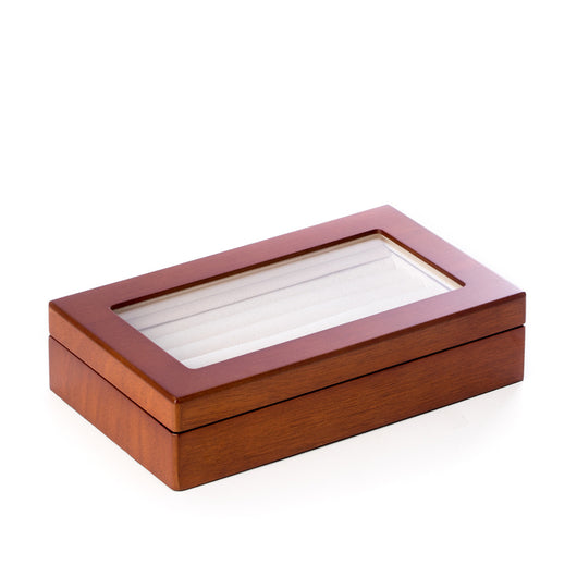 Cherry Black Wood Cufflink Box with Glass Top and Velour Lining