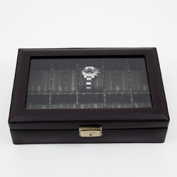 Brown Leather 10 Watch Case with Glass Top and Locking Clasp.