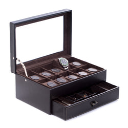 Black Leather 10 Watch Case with Glass Top, Drawer for Cufflinks & Pens.