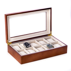 Cherry Wood 10 Watch Box with Glass Top and Velour Lined.