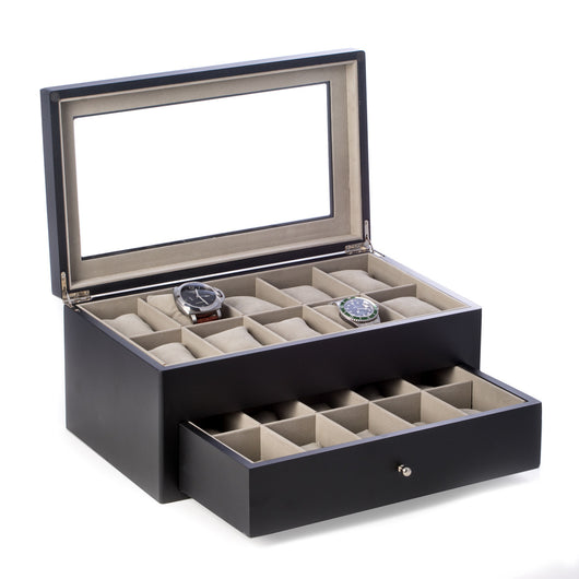 Matte Black Wood 20 Watch Box with Glass Top & Drawer, Velour Lined.