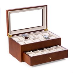 Cherry Wood 20 Watch Box with Glass Top & Drawer, Velour Lined.