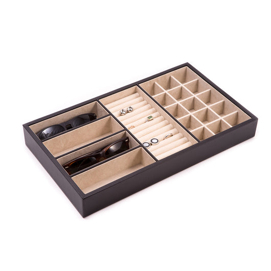 Black Leather Open Face Valet Tray with 4 Sections for Glasses, 15 Sections for Small Jewelry and Slots for Rings or Cufflinks
