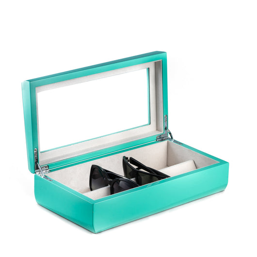 Lacquered Turquoise Wood Multi Eyeglass Case with Glass Top and Velour Lined