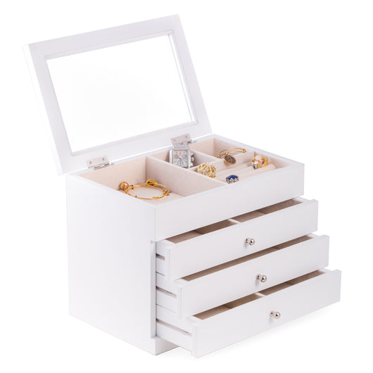 White Wood Jewelry Case with 3 Drawers and Glass See-thru Top. Includes 2 Divided Drawers, Slots for Rings & Earrings and Soft Velour Lined